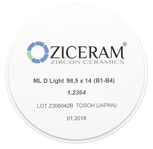 Диоксид циркония ZICERAM ML B Light 98х14 (B1-B4)