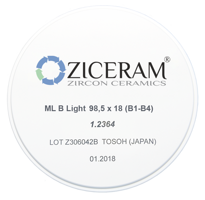 Диоксид циркония ZICERAM ML C Light 98.5х22 (C1-C4)